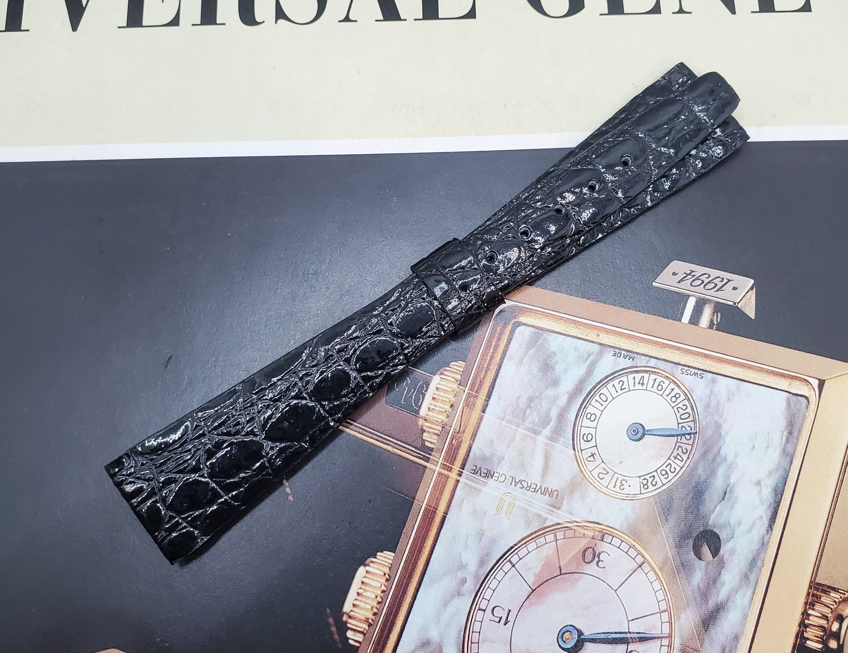 Universal Genève Vintage 16mm Black Leather Watch Strap