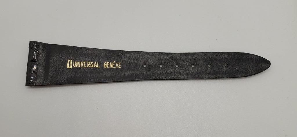 Universal Genève Vintage 22mm Black Leather Watch Strap