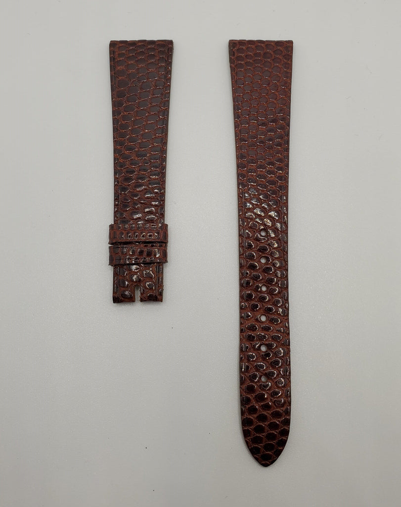 Universal Genève Vintage 18mm Dark Brown-Red Lizard Watch Strap