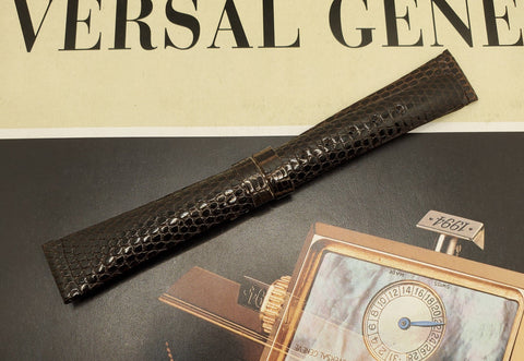 Universal Genève Vintage 14mm Dark Brown-Chocolate Leather Watch Strap