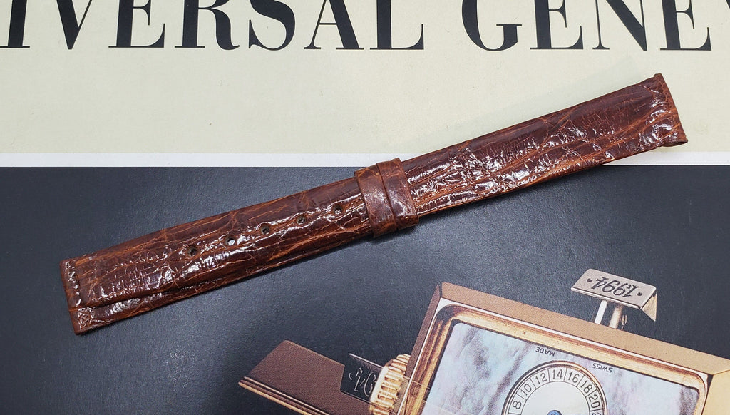 Universal Genève Vintage 14mm Dark Red-Brown Genuine Crocodile Watch Strap
