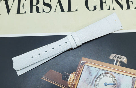 Universal Genève Vintage 16mm White Leather Watch Strap