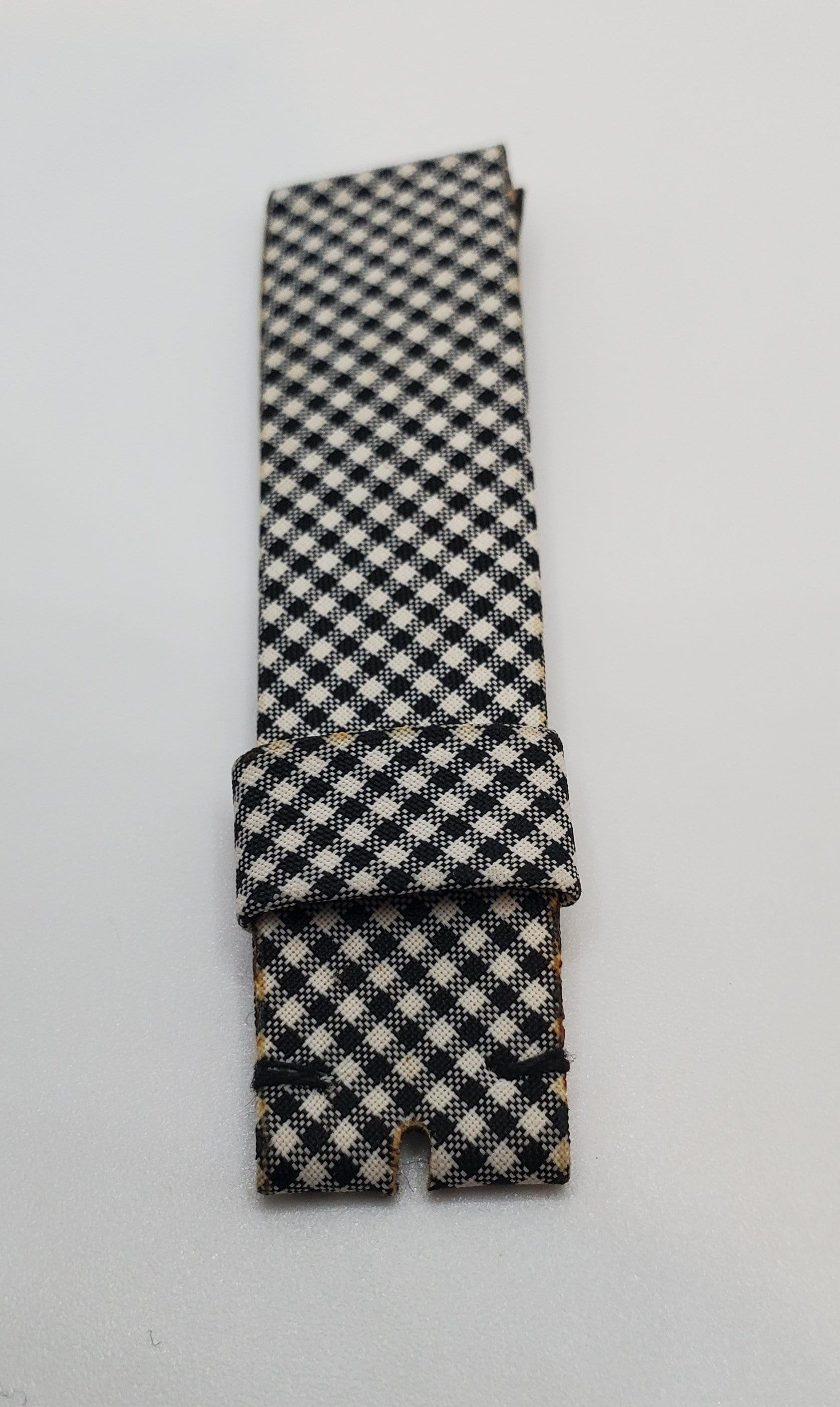 Universal Genève Vintage 18mm White-Black Checkered Leather Watch Strap