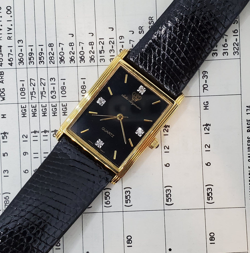 Jules-Jurgenes Circa 1980s Black Dial Diamond Unisex Watch