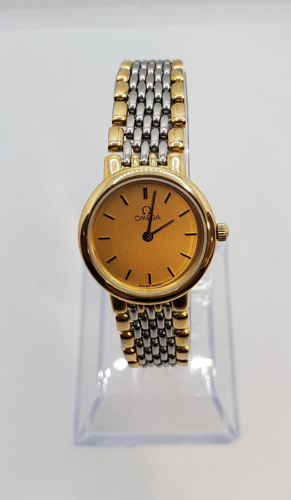 Omega DeVille Quartz Gold Dial Stainless Steel Women's Watch Crica 1980s