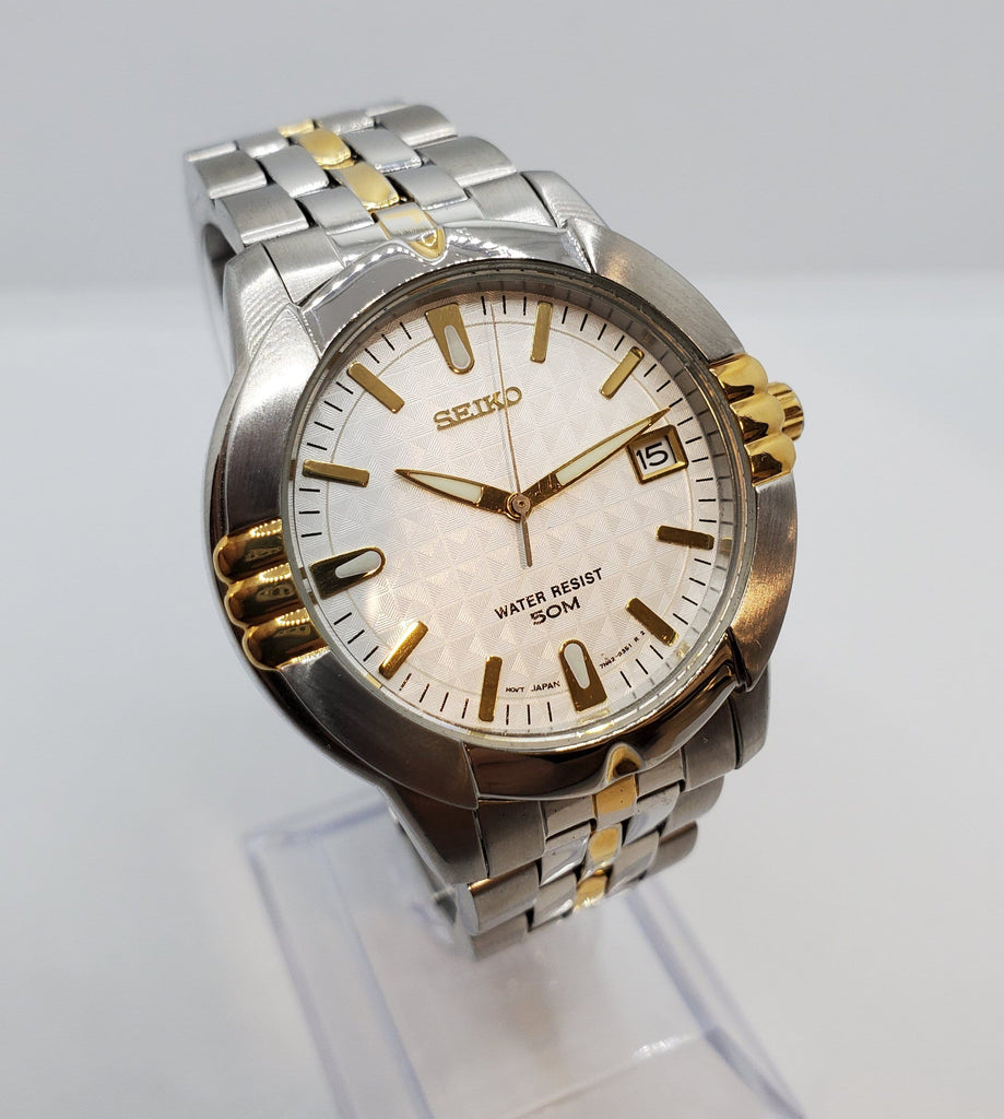 Seiko Two-Tone Stainless Steel Silver Dial Quartz Men's Watch Crica 1980s