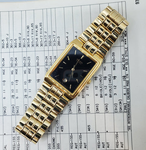 Seiko Gold-Plated Stainless Steel Black Dial Quartz Men's Watch Crica 1980s