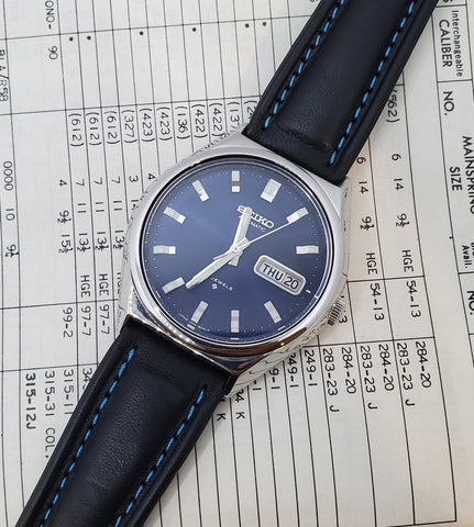 Seiko Automatic Blue Dial Day-Date Leather Strap Men's Watch Crica 1970s