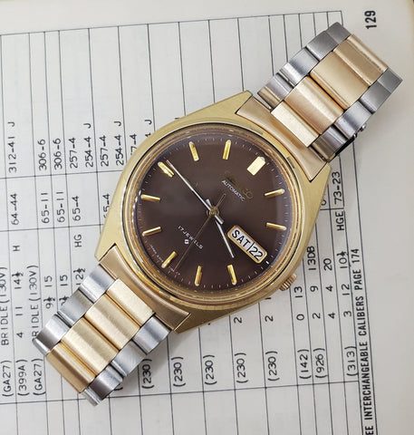 Seiko Automatic Watch Brown Sunray Dial Two-Tone Stainless Steel Crica 1970s