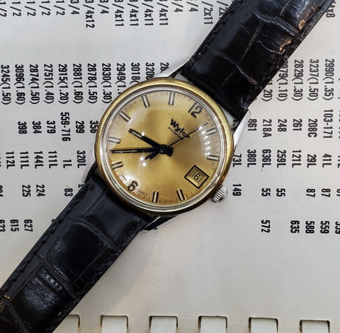 Wyler Gold-Black Vintage Swiss Made Circa 1980s Men's Watch