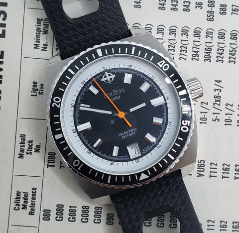 Zodiac Sea Dragon Black Dial Black Leather Strap Men's Watch Crica 1980s