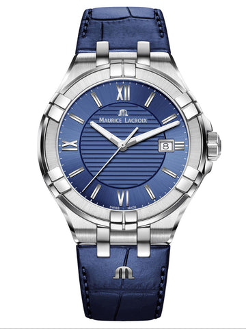 Maurice Lacroix AIKON Date 42mm Blue Strap Men's Watch AI1008-SS001-430-1