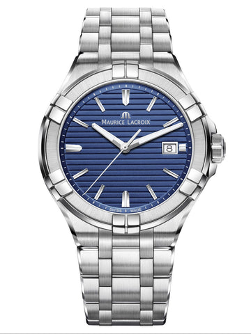 Maurice Lacroix AIKON Date 42mm Blue Dial Silver Strap Men's Watch AI1008-SS002-431-1
