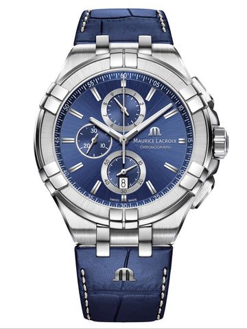 Maurice Lacroix AIKON 44mm Chronograph Blue Leather Strap Men's Watch AI1018-SS001-430-1