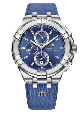 Maurice Lacroix AIKON 44mm Chronograph Blue Leather Strap Men's Watch AI1018-SS001-431-1