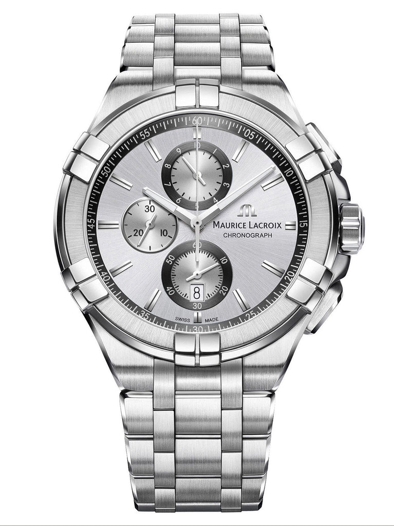 Maurice Lacroix AIKON 44mm Chronograph Silver Strap Men's Watch AI1018-SS002-130-1