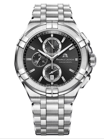 Maurice Lacroix AIKON 44mm Chronograph Silver Strap Men's Watch AI1018-SS002-330-1