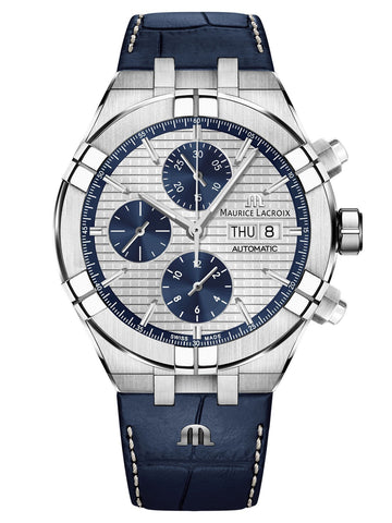 Maurice Lacroix AIKON Automatic Chronograph 44mm Blue Strap Men's Watch AI6038-SS001-131-1