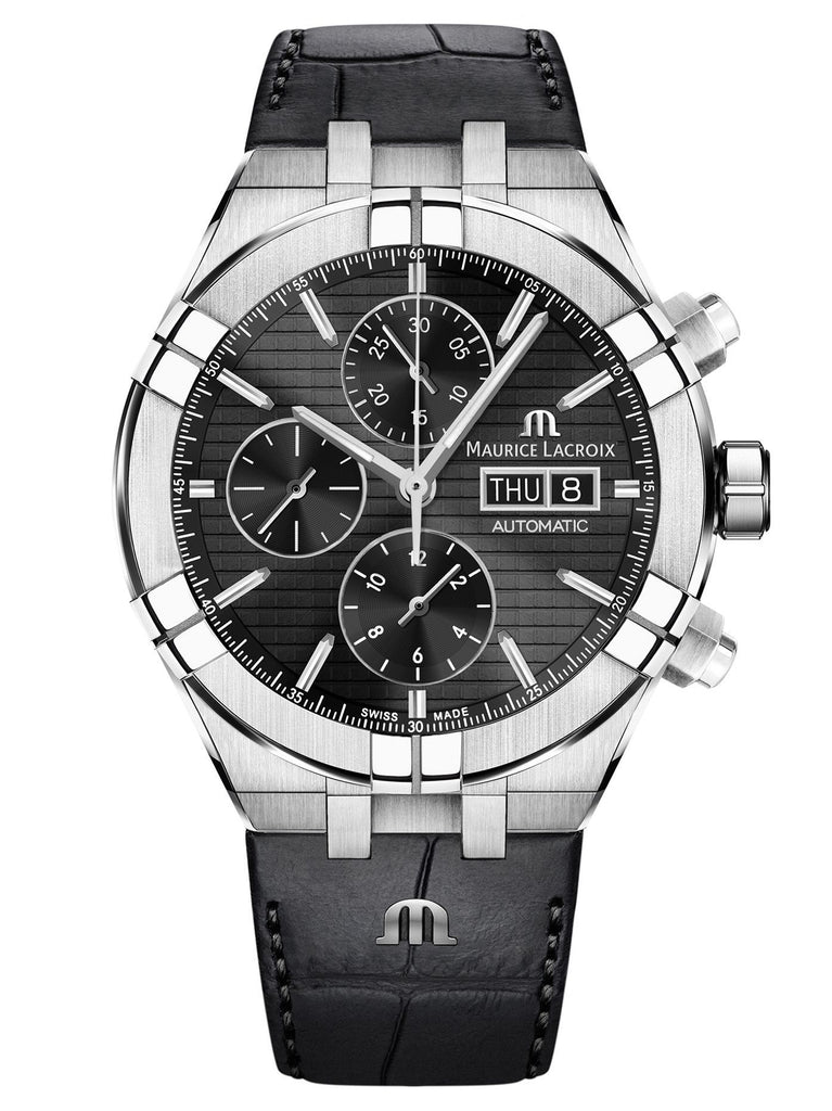 Maurice Lacroix AIKON Automatic Chronograph 44mm Black Strap Men's Watch AI6038-SS001-330-1
