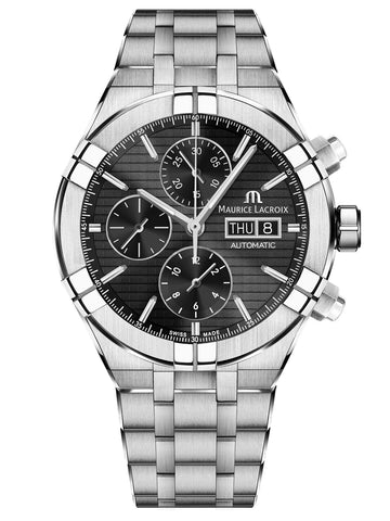 Maurice Lacroix AIKON 44mm Automatic Chronograph Black Dial Men's Watch AI6038-SS002-330-1