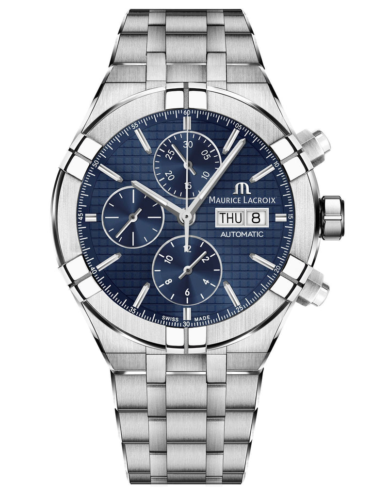 Maurice Lacroix AIKON Automatic Chronograph 44mm Silver Strap Men's Watch AI6038-SS002-430-1