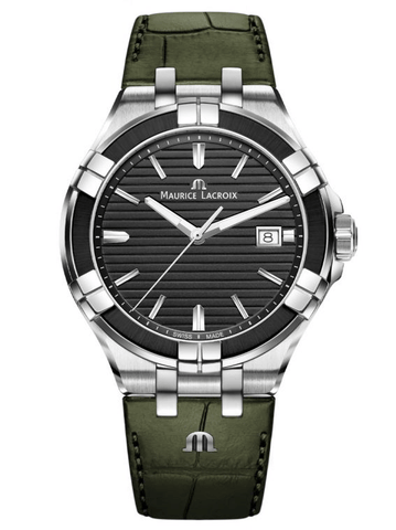 Maurice Lacroix AIKON Quartz 42mm Green Strap Men's Watch AI1008-PVB21-330-1