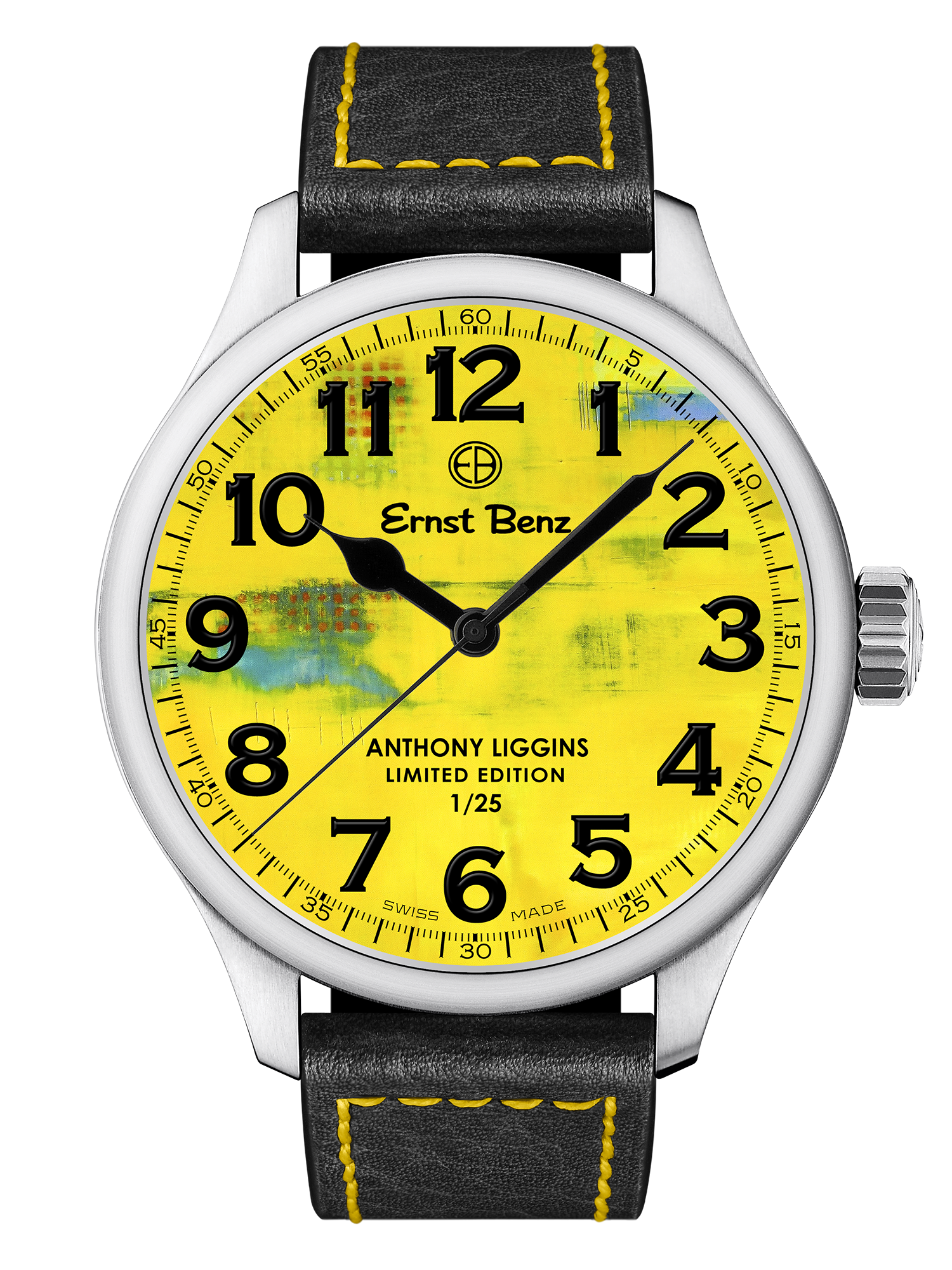 Ernst Benz Anthony Liggins Yellow Abstract Limited Edition 47mm Men's Watch GC10200/AL3