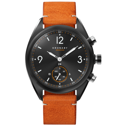 Kronaby Apex 41mm Smartwatch Black PVD Brown Strap Men's Watch S3116/1
