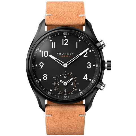 Kronaby Apex 43mm Smartwatch Black PVD Brown Strap Men's Watch S0730/1