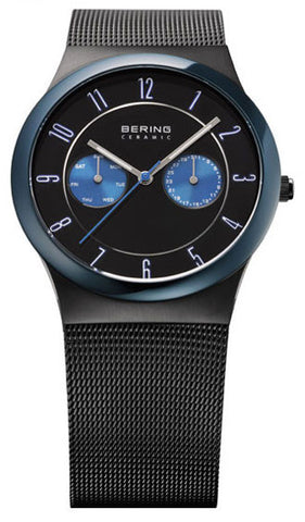 BERING 32139-227 Men's Watch Blue Ceramic Bezel Multifunction Black Mesh Strap