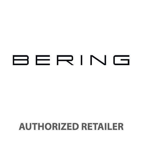 BERING Max Rene 40mm Polished Silver Case Blue Rubber Strap Men's Watch 15540-700