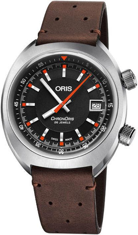 Oris Chronoris Date Black Dial Brown Leather Strap Men's Watch 01 733 7737 4054-07 5 19 45