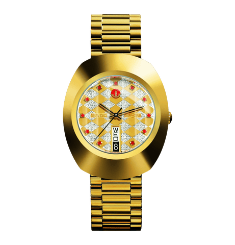 RADO The Original Automatic Checkered Dial Yellow Gold Stainless Steel Men's Watch R12413193