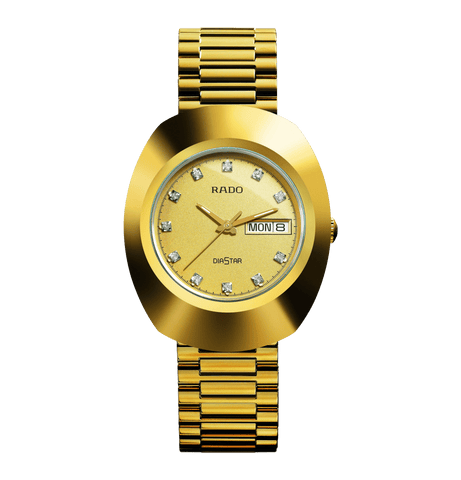 RADO The Original Crystal Markers Yellow Gold PVD Men's Watch R12393633