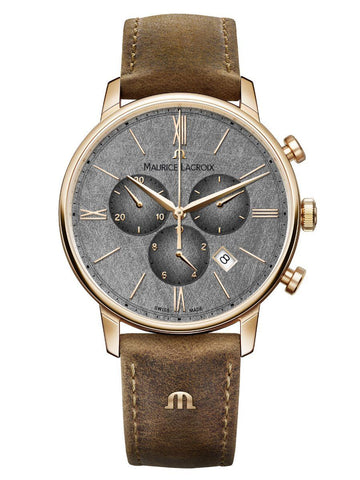 Maurice Lacroix ELIROS Chronograph 40mm Brown Strap Men's Watch EL1098-PVP01-210-1