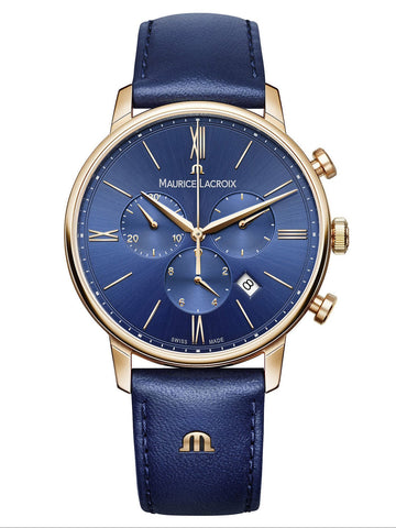 Maurice Lacroix ELIROS Chronograph 40mm Blue Strap Men's Watch EL1098-PVP01-411-1