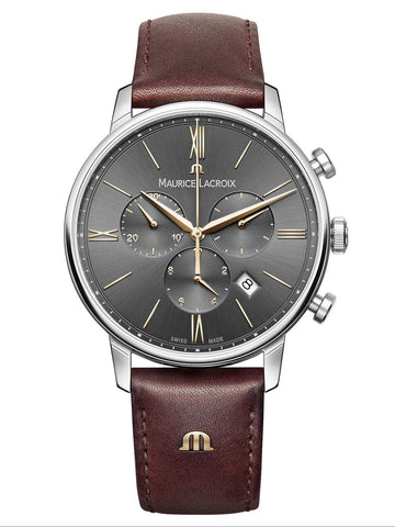 Maurice Lacroix ELIROS Chronograph 40mm Brown Strap Mens Watch EL1098-SS001-311-1