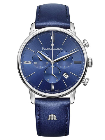 Maurice Lacroix ELIROS Chronograph 40mm Blue Strap Mens Watch EL1098-SS001-410-1