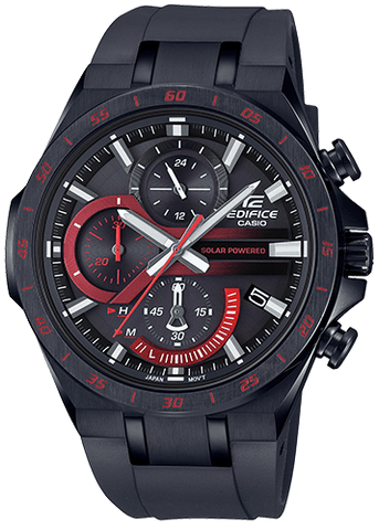 EDIFICE Casio Tough Solar Black Rubber Strap Men's Watch EQS920PB-1AV