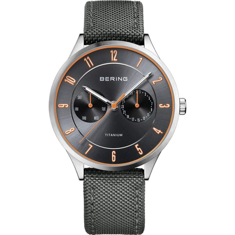 BERING 11539-879 Men's Watch Day/Date Brushed Silver Titanium Gray Sunray Dial Gray Strap