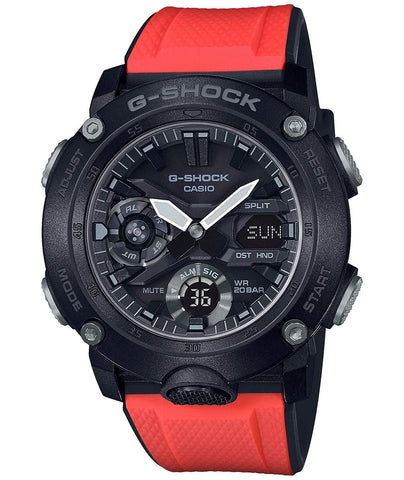 G-Shock Analog-Digital Carbon-Resin Case Black-Orange Men's Watch GA2000E-4