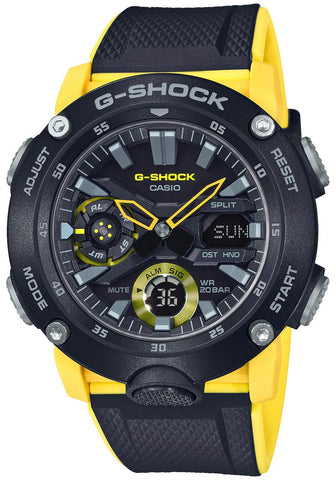G-Shock Analog-Digital Carbon-Resin Case Black-Yellow Men's Watch GA2000-1A9