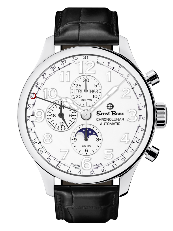 Ernst Benz Chronolunar Officer 47mm White Dial Automatic Men's Watch GC10382