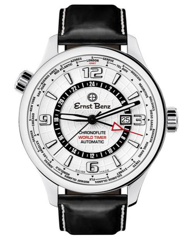 Ernst Benz Chronoflite World Timer GMT White Dial 47mm Men's Watch GC10852