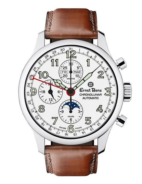 Ernst Benz Chronolunar 44mm Chronograph Automatic White Dial Dark Brown Leather Band Men's Watch GC40312