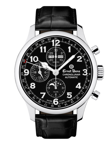 Ernst Benz Chronolunar Officer 44mm Steel Hands Black Dial Men's Watch GC40381