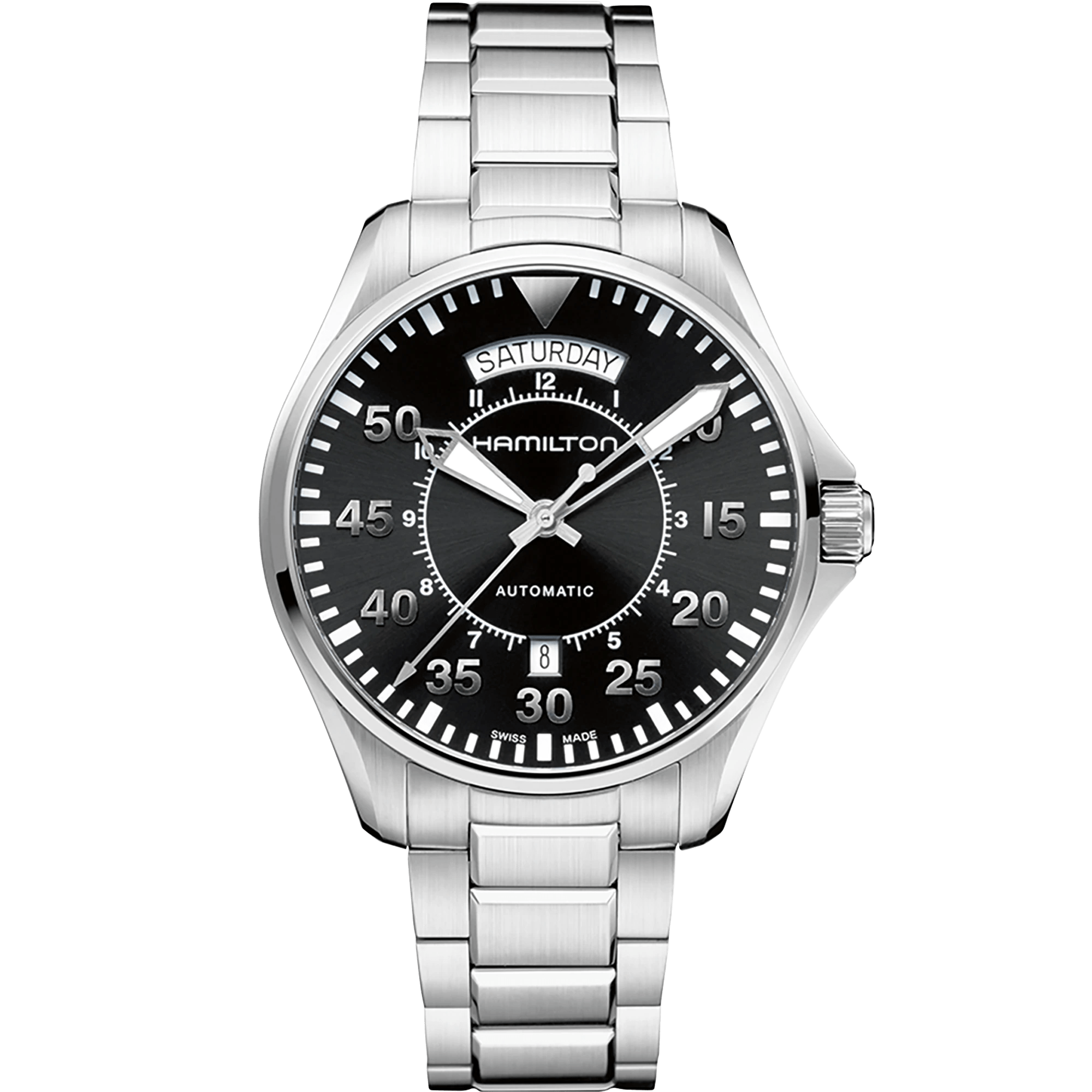 Hamilton Khaki Aviation Pilot Day Date Auto Steel Men's Watch H64615135