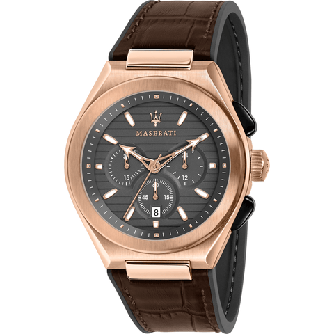 Maserati Triconic 43mm Chronograph Grey Dial Rose Gold Men's Watch R8871639003