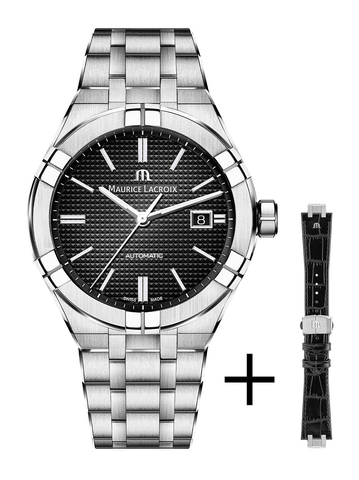 Maurice Lacroix AIKON Automatic 42mm Black Dial + Extra Strap Men's Watch AI6008-SS002-330-2