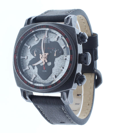 Ritmo Mundo Racer Limited Edition Pirate Dial Black Leather Band Men's Watch 2221/14 Black Pirate